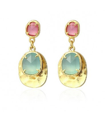 TWO STONES CATS EYE EARRING 30MM - APE991AT