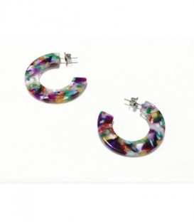 PENDIENTES ACERO ARO MULTICOLOR 40MM - BPE027AM