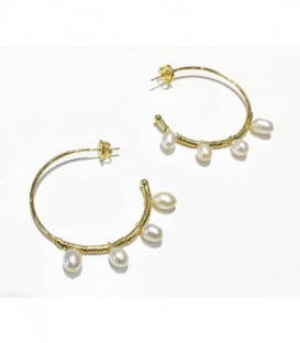 HOOP EARRING WITH PEARLS - BPE097D