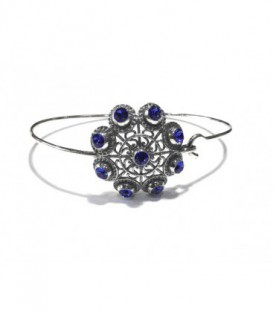 Pulsera charra plata con botón tamaño 25mm con piedras cristal de swarovski color azul, tamaño aro 7cm - S1555A